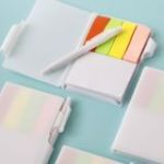 Perfectly Plain Collection White Note Book with Pen and Color Coded Sticky Tabs