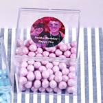 Personalized Clear Sturdy Plastic Cube Box Birthday Party Favors