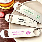 Personalized 7 Inch Stainless Steel Bartenders Bottle Opener Baptism Favors