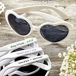 Personalized Heart Shaped White Sunglasses Anniversary Party Favors