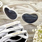 Personalized Metallic Heart Shaped Sunglasses Anniversary Party Favors