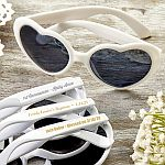 Personalized Metallic Heart Shaped Sunglasses Christening Baptism Favors