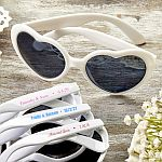 Screen Printed Heart Shaped White Sunglasses Anniversary Party Favors