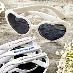 Screen Printed Heart Shaped White Sunglasses Graduation Party Favors