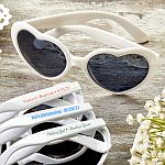 Screen Printed Heart Shaped White Sunglasses Christening Baptism Favors