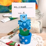 Blue Teddy Bear Flower Pot Place Card / Photo Holder