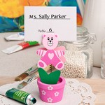 Pink Teddy Bear Flower Pot Place Card / Photo Holder