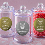Personalized Metallics Collection Clear Acrylic Apothecary Jar with Lid
