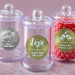 Personalized Metallics Clear Acrylic Apothecary Jar with Lid Wedding Favors