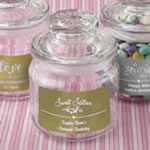 Personalized Metallics Glass Jar with Sealed Cover Party Favors