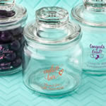 Personalized Screen Printed Glass Jar with Sealed Cover Party Favors