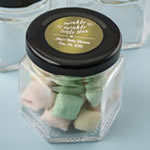 Personalized Metallics Collection Small Hex Jar Baby Shower Favors
