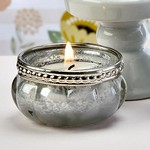 Silver and White Vintage Mercury Glass Tealite Candle Holder