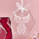 Glass Etched Angel Octagon Ornament