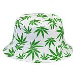 White Bucket Hat with Green Leaves