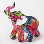 Tropical Floral Elephant Figurine - Small Size