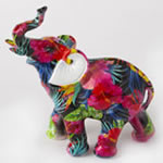 Tropical Floral Elephant Figurine - Medium Size