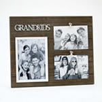 Triple Wood Grandkids Frame - Holds One 5x7 and Two 4x6 Photos