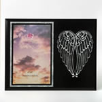 Silver Angel Wings on Black 4 x 6 Picture Frame