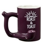 Roast & Toast Mug - Plum Color with Smiling Sun Design