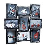 Picture Frame Wall Collage - 9 Photo Openings - Silver with Black