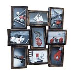 Picture Frame Wall Collage - 9 Photo Openings - Antique Copper Brushed