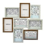 Wood Puzzle Collage Picture Frame - 8 Openings - Dark Woods with Light