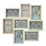 Wood Puzzle Collage Picture Frame - 8 Openings - Light Woods with White