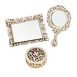 3 Piece Champagne Gold Vanity Set - Covered Box, Hand Mirror, & Mirror Tray