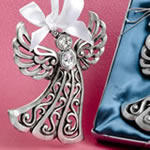 Silver Guardian Angel Ornament