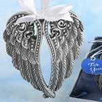 Angel Themed Ornament / Silver Angel Wings Design Ornament with a Pewter Finish