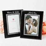 Silk-Screened Personalized Black Glass Frame with Silver Glitter Border