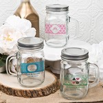 Personalized 12 ounce Glass Mason Jar with Handle & Silver Metal Screw Top