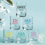 Personalized Round Shot Glass / Votive Candle Holder (Greek Designs)