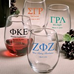 Personalized Stemless Wine Glasses (Greek Designs)