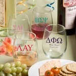 Personalized 15 oz. Stemless Wine Glasses (Greek Designs)