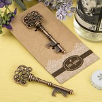 Copper Skeleton Key Bottle Opener with Heavy Kraft Paper Backer Card