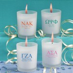 Personalized Frosted Glass Candle Holder with Wax (Greek Designs)