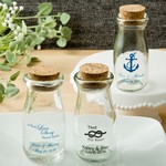 Design Your Own Personalized Vintage Milk Bottles with Round Cork Top