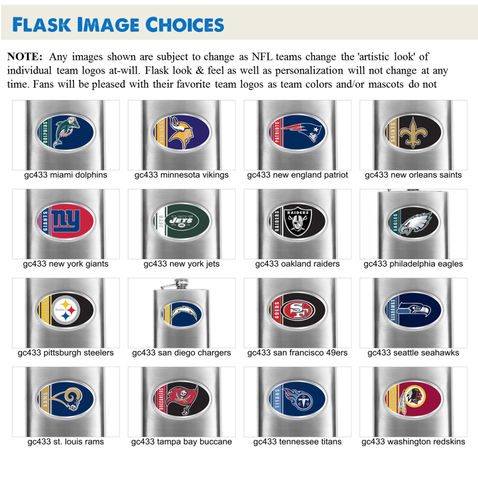 buy popular 7728b e59f1 Personalized NFL Stainless Steel 8 oz Flask