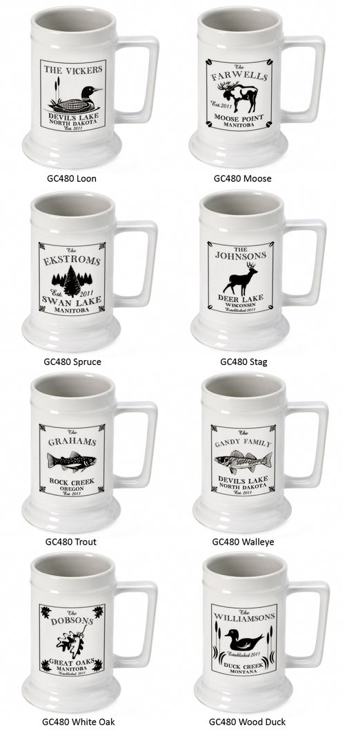 Personalized Cabin Series Stein Available In 9 Designs Famous Favors