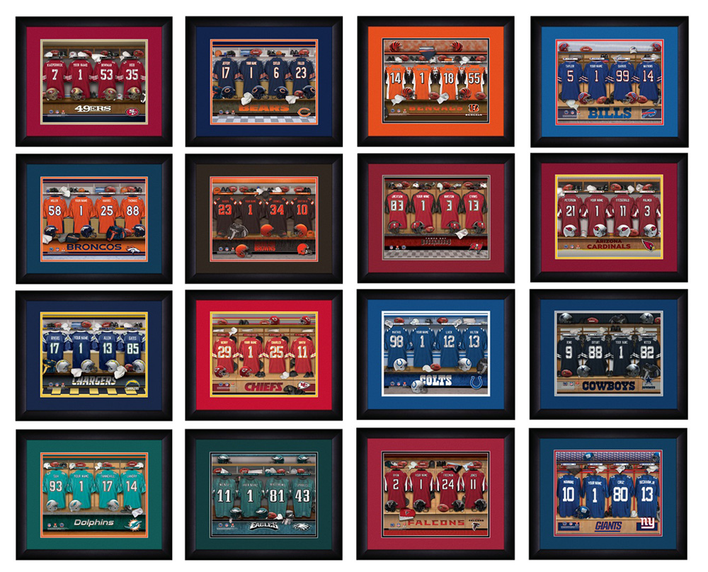 e58eb8d1e1c Personalized NFL Locker Room Print with Matted Frame - Famous Favors