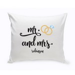 Personalized Mr. & Mrs. Wedding Ring Throw Pillow