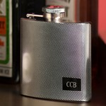 Personalized 4 oz. Textured Stainless Steel Flask