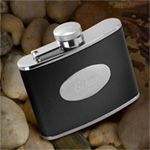 Personalized 4 oz. Stainless Steel Leather Flask