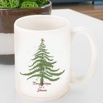 Personalized Vintage Holiday Coffee Mug - Christmas Tree