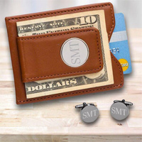 Personalized Brown Leather Wallet and Gunmetal Cufflinks Gift Set