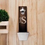 Monogrammed Wall Mounted Bottle Opener and Cap Catcher