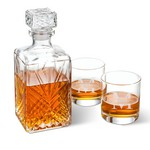 Monogrammed Bormioli Rocco Selecta Square Decanter with Set of 2 Low Ball Glasses