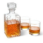 Personalized Bormioli Rocco Selecta Square Decanter with Set of 2 Low Ball Glasses
